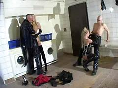 Group sex in rubber
