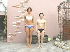 Tall Amazon, Asian woman and little man