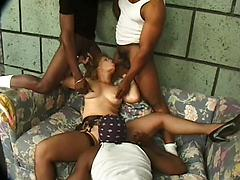 Mature Sexy Lady Gets Gangbang By 3 Black Cocks.