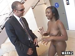 Perfect Body Ebony Coed Adora Strips And Sucks At Audition