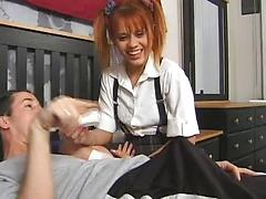 The Babysitter Gets Taken Care Of By Two Guys