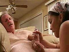 Teen asian blowjob with old man