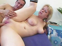Blonde Milf Gets Fucked And Accepts Cum On Her Big Tits
