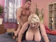 Older Fat Bitch With Huge Melon Boobs Gets Fucked