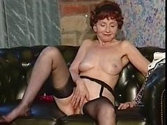 Lingerie Wearing Granny Toy Fucks Her Pussy