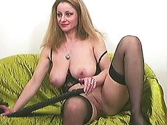 Mature Babe With Huge Tits Plays With Her Wet Pussy