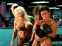 Body Builder Women Working Out With Tits Out