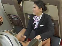Asian Stewardess Drops To Her Knees To Suck A Passenger