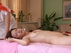 Sexy Asian Girl Lies On Table For Massage And Pussy Toying