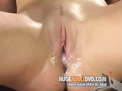Crempie blonde eats cum from her own pussy