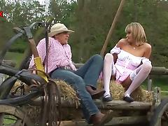 Horny milf and her old partner fuck in a countryside