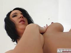 Hot brunette chick with round ass fucked doggystyle