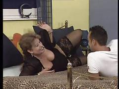 Voluptuous mature whore in stockings blows and fucks a dude