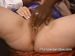 BBW slut with hairy pussy gets roughly smashed by a black stranger
